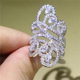 Luxury Wedding Bands NZ - Luxury Women 925 Silver Filled Band Ring Full Diamonique CZ Flower Finger Rings for Bride Wedding Engagement Jewelry Unique Gift Size 5-10