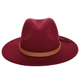 wide brimmed felt hat Australia - Fashion-Autumn Winter Sun Hat Women Men Fedora Hat Classical Wide Brim Felt Floppy Cloche Cap Chapeau Imitation Wool Cap