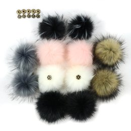 Artificial Chains Wholesalers Australia - 1pc DIY Fluffy Faux Fur 8cm Pom Pom Ball Artificial Pompom with Press Button for Hat Key Chains Accessories Decorated Ball Gifts