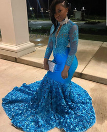 black girls elegant prom dresses UK - Blue Black Girl Mermaid Prom Dresses Long Sleeve Formal High Neck Plus Size 3d Floral Evening Gown 2020 Elegant Backless trajes de gala