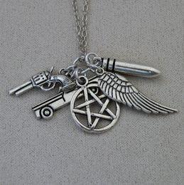 Pistol bullets online shopping - Gothic Witchcraft Pentagram Necklace Wing Police Gun Pistol Bullet Collar Cyberpunk Vintage Silver Necklaces Pendants Fashion Women Jewelry