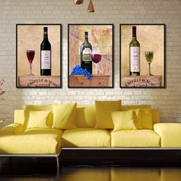 wine canvas art living room 2019 - Kitchen Bar Room Decor Canvas Painting Framework Cup Wine Glass Posters and Prints Retro Modern Wall Art Picture for Liv