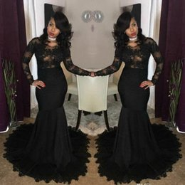 picture girl sexy model NZ - 2019 Sexy Illusion African Black Prom Dresses Mermaid Jewel Neck Lace Appliques Long Sleeves Evening Gowns African Girls Party Wear