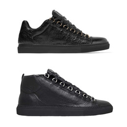 Comfy sneakers online shopping - Fashion arena sneakers high top Designer Shoes creased leather mens trainers women grey low top Flat sneakers comfy boots size