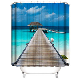 lighthouse prints NZ - Customized Waterproof skyblue Coast scenery Bridge Lighthouse Sunset View Shower Curtains 3D Digital Printing Bathroom Curtains With Rings