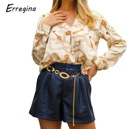 $enCountryForm.capitalKeyWord NZ - Erregina Women V-neck Long Sleeve Blouse Casual Metal Chain Key Print Shirt Tops Vintage Loose Crown Print Spring Blouse Top