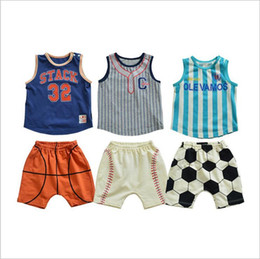 boys basketball shorts wholesale UK - Kids Designer Clothes Baby Sports Clothing Sets Boys Softball Outfits Basketball Soccer Cotton T-Shirt Knitted Pants Suits Tops Shorts TL363