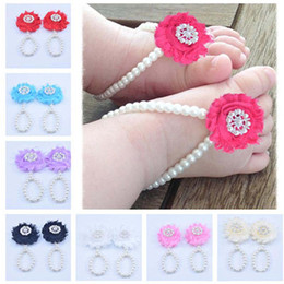 $enCountryForm.capitalKeyWord Australia - New Baby Flower Sandals Anklets Simulated Pearl Newborn Baby Girls Foot Band Toe Rings First Walker Barefoot Sandals Foot ornament