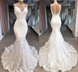Black dress white strips online shopping - Vintage Spaghetti Strips Mermaid Slim Lace Appliques Wedding Dress Backless Custom Bridal Gowns Formal Vestidos De Marriage Long Garden