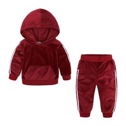 Wholesale 4t yellow hoodie resale online – Baby Boy Clothing Set Winter Solid Casual Pockets Thickening Hoodies Pants Two Piece Sets Kids Casual Clothes Girls Baby Clothes M T