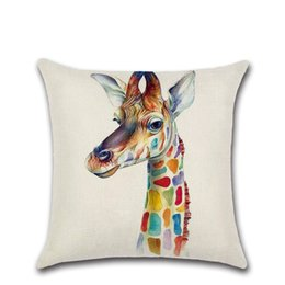 giraffe home decorations 2019 - Colorful cartoon Giraffe zebra rhino elk Cushion Cover Decoration for Home sofa chair seat pillow case friend present ki