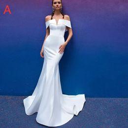 Wedding Dress White Detachable Train Australia - Simple White Tulle Mermaid Wedding Dresses 2019 Sexy Off Shoulder Bridal Gowns Custom Detachable Train Bridal Dresses V Neck Robe De Mariée