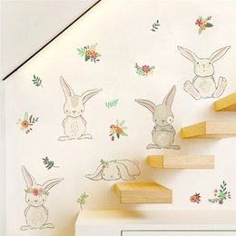 $enCountryForm.capitalKeyWord Australia - Lovely Rabbit Wall Stickers For Kids Room Decoration Cartoon Animals Bunny Mural Art Diy Home Decals Posters Children Gift