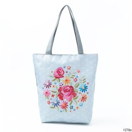 Canvas Dots Australia - good quality Colorful Floral Printed Tote Handbag Women Canvas Summer Beach Bag Lady Dot Design Single Shoulder Bag Lady