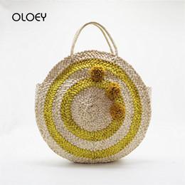 Knitted Ladies Handbags Australia - Rattan Woven Handmade Knitted Straw Bag Yellow Handbag Purse Large Capacity Paisley Women's Bag Beach Weaving Ladies Casual Tote
