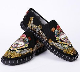 Art Canvas Prints Australia - 2019 hand-embroidered fabric art plus plush thickened embroidery low-top casual shoes