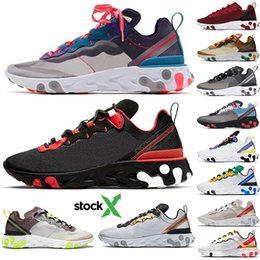 2020 React Element 55 UNDERCOVER 87 Running Shoes Team Red Orbit Bred Tour Green Epic Designer Sports Sneakers Runner Trainer With Stock X on Sale