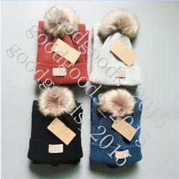 $enCountryForm.capitalKeyWord NZ - Kids Knit Scarf Fur Pom Hat 2pcs Set Luxury Beanies Winter Warm Crochet Scarves for Girls Boys Child Outdoor Ski Hat Sets With Tag TO984