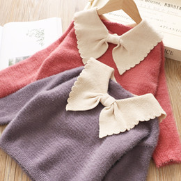 $enCountryForm.capitalKeyWord NZ - Girls sweater kids contrast color Bows lapel princess pullover children knitted long sleeve jumper 2019 autumn new girl clothes F9677