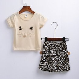 $enCountryForm.capitalKeyWord NZ - Kids Clothing Sets Summer Baby Clothes Cartoon Cat Design Print and Leopard for Girl Outfits Toddler Fashion T-shirt Shorts Children Suits