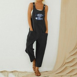 women casual jumpsuit romper Australia - Summer Casual jumpsuit Women Casual Boho Fish Print Pocket Romper Long Playsuit Strap Button Jumpsuit