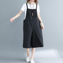 jumpsuit styles for plus size UK - Korean Style Jumpsuit Women Summer 2020 Plus Size Loose Casual Rompers Jumpsuits For Womens Striped Mid Calf Length Overalls New