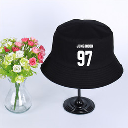 eb12372f81f50 Fashion BTS Logo Summer Hat Women Mens Panama Bucket Hat BTS Design Flat Sun  Visor Fishing Fisherman Hat
