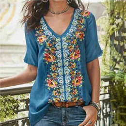 Wholesale women tunic t shirts for sale – custom 2019 Fashion Women s Summer Boho Floral Tunic Top V Neck Plus Size Ladies Casual Loose Tops T Shirt Streetwear