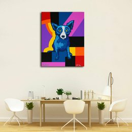 Modern Art Canvas Print Australia - High Quality Handpainted & HD Print Modern Abstract Animal Art Oil Painting Blue Dog On Canvas Wall Art Home Office Deco a32