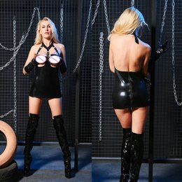 $enCountryForm.capitalKeyWord Australia - Fetish Black Open Bust Sexy Babydoll Wetlook Metal Chain Faux Leather Lingerie Erotic Cupless Mini Dress Sexy Costume For Women