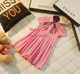 $enCountryForm.capitalKeyWord Australia - 2019 summer baby girls dress Pink bow applique Single row button dress children clothing casual fashion dresses kids clothes girls ABD-28
