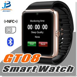 $enCountryForm.capitalKeyWord Australia - GT08 Bluetooth Smart Watch with SIM Card Slot and NFC Health Watchs for Android Samsung and IOS iphon Smartphone Bracelet Smartwatch