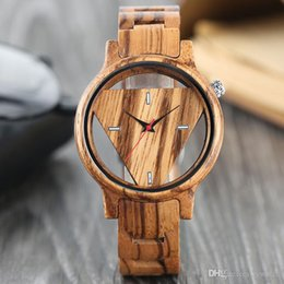 fashion wooden button Canada - Top Men's Full Wood Bamboo Watch Unique Hollow Triangle Skeleton Dial Quartz Wristwatch Male Push Button Bangle Sports Clock