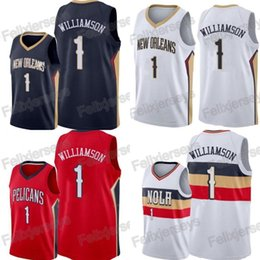 3a957ea2755 Men s New Orleans 2019 Pelicans 1 Zion Williamson Jersey Blue Red white  Stitched Williamson Basketball Jerseys