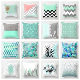 $enCountryForm.capitalKeyWord Australia - ZENGIA Blue Green Geometric Cushion cover 45x45cm Marble Texture Throw Pillow Case Cushion Cover For Sofa Home Decor Pillowcase