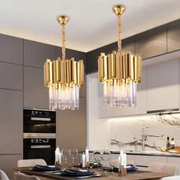 $enCountryForm.capitalKeyWord Australia - Modern Crystal Chandelier Lighting Dining Room Kitchen Island Bedroom Chain Loft Chandeliers Ceiling Gold Chrome Pendant Lamp Light Fixtures
