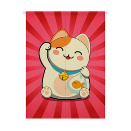$enCountryForm.capitalKeyWord UK - Japanese Style Noren Doorway Linen Curtain Hanging Tapestry Maneki Neko Lucky Cat Cotton Design Pattern For Home Decoration