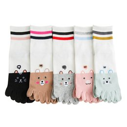 Cute Cartoon Pairs Australia - Five finger women socks ladies slippery autumn and winter new tube socks cute cartoon cotton toe socks 5 pairs lot