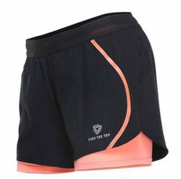 $enCountryForm.capitalKeyWord NZ - Women Running Jogging Shorts Sports Yoga Sportswear False Two Pieces Fitness Exercise Gym Compression Shorts Clothes