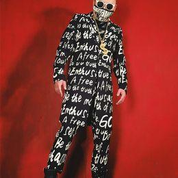 Long Jacket Costume Australia - Men Fashion Print Hip Hop Long Casual Blazer Jacket Male Slim Fit Suit Coat Stage Party Custom Made Costumes Clothes