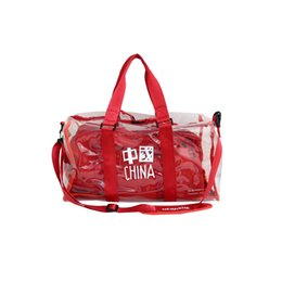 fashion bags summer for woman UK - Transparent Travel Bag for Women Fashion Gym Bag PVC Designer Shoulder Bags Women Summer Waterproof Laser Trapeze Red Duffle