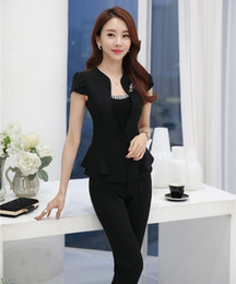 Professional Female Skirt Suits Australia - Novelty Black Professional Female Pantsuits Short Sleeve 2016 Summer Business Women Suits Jackets And Pants Trousers Sets J190430