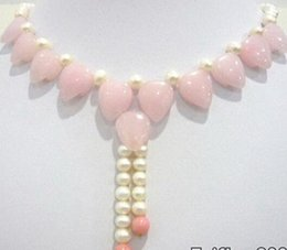 pink coral beaded necklace NZ - FREE SHIPPING + Genuine White Pearl Pink Love Heart Coral Pendant Necklace