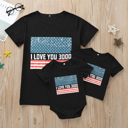 american suits 2019 - Family Word Mother T-Shirt American Flag Independence National Day USA 4th July Baby Romper Black Stars Striped Print Sh