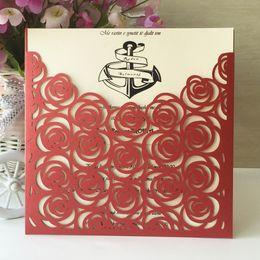 $enCountryForm.capitalKeyWord Australia - 25Pcs Lot Hollow Laser Cut Beautiful Flower Sculpture Wedding Invitations Card Envelop Village Garden Flowers Invitations Cards Supplies