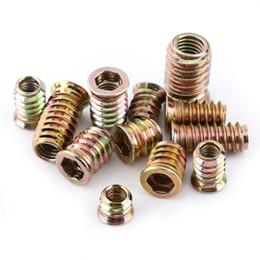 Freeshipping 20pcs Lot*10 Insert Nuts Hex Socket Drive Furniture Nuts Carbon Steel Threaded Screws Bolts Fasteners Woodworking Tools