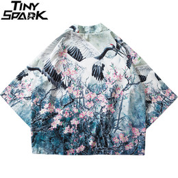 Chinese Floral Paintings Australia - WM 2019 Harajuku Kimono Jacket Japanese Hip Hop Men Streetwear Jacket Crane Floral Print Chinese Paint Summer Thin Gown Japan Style