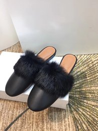 $enCountryForm.capitalKeyWord NZ - New Winter 2018 Ladies Slipper with Leather Flat Bottom Rabbit Hair Slippers and Half Slippers with Low-heeled Steamed stuffed bun slippers