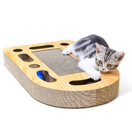 $enCountryForm.capitalKeyWord Australia - Cat Corrugated Scratch Board with Bells Pad Scratcher Bed Mat Interactive Training Toy Cat Grinding Claws Protecting Furniture with cat MINT