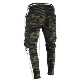 $enCountryForm.capitalKeyWord Australia - New Hot Men S Designer Jeans Camouflage Green Black Striped Pockets Zipper Pencil Biker Jean Pants